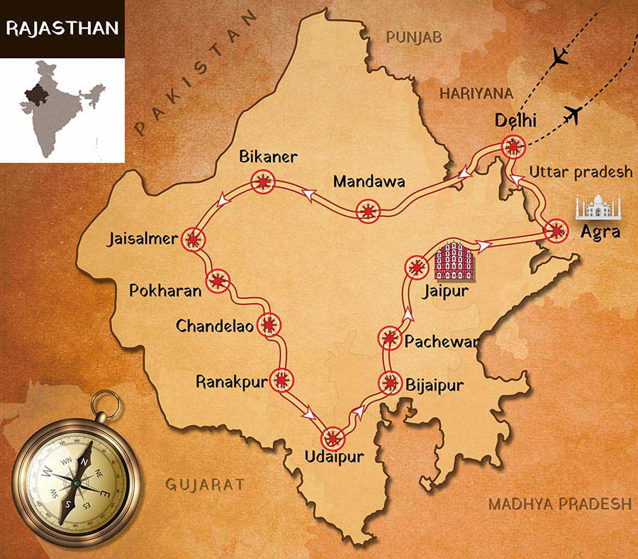 Rajasthan motorcycle tour map