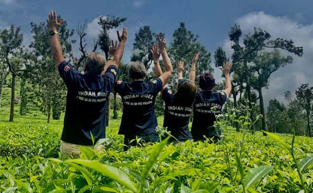 Bikers in Tea planation for motorcycle tours in Kerala