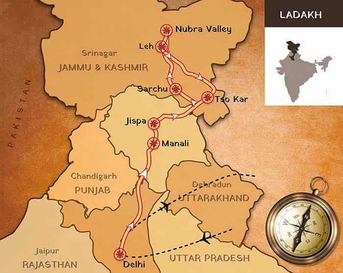 Route map Ladhak motorcycle tours
